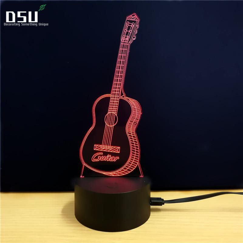 Creative 3d Night Light Electric Guitar Model Illusion Led Lamp 7 Color Us 15 85 3d Led Lamp Led Lights For Sale 3d Led Light