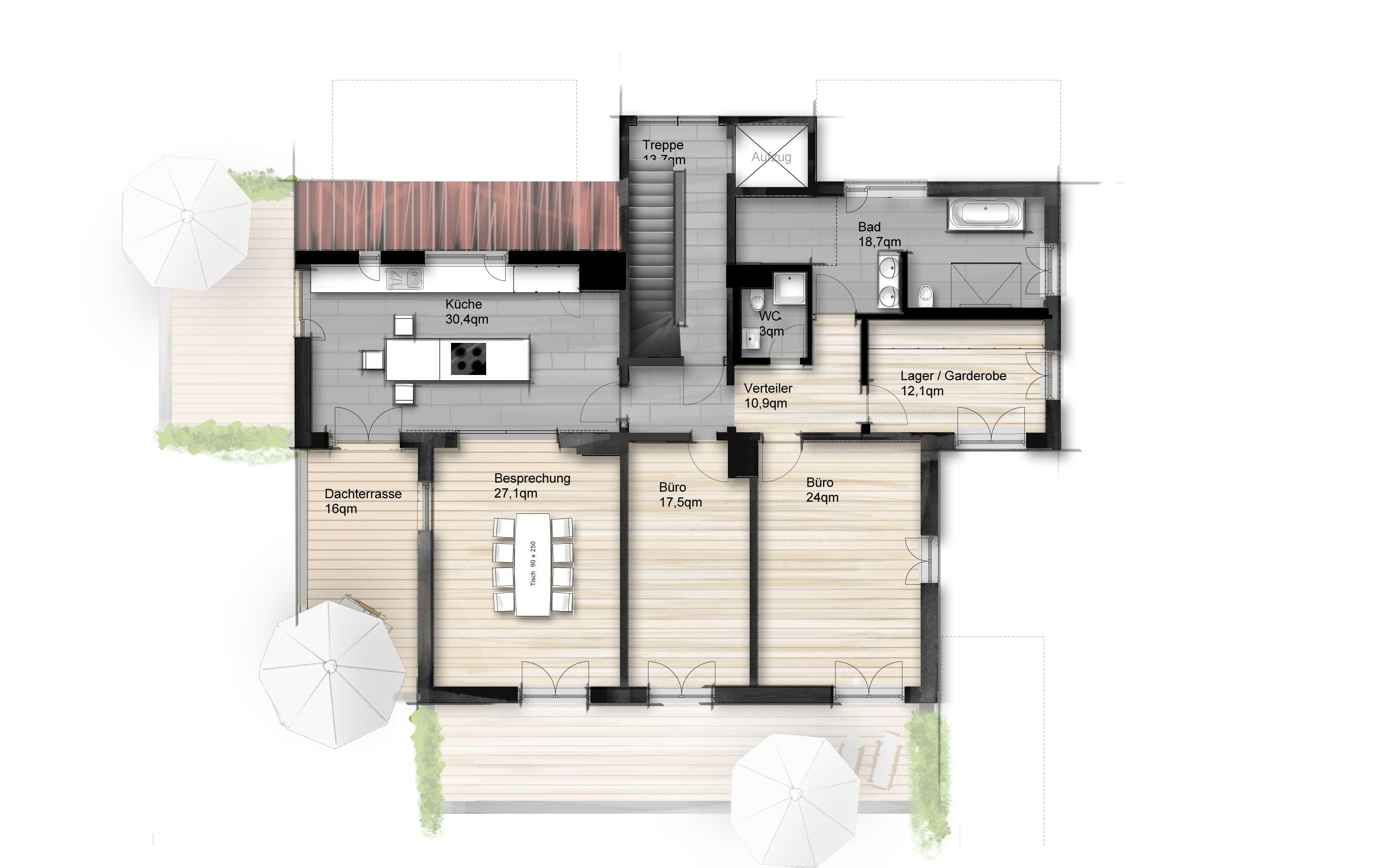 Wohnung Grundriss, kolorierter Grundriss, Baugrundriss