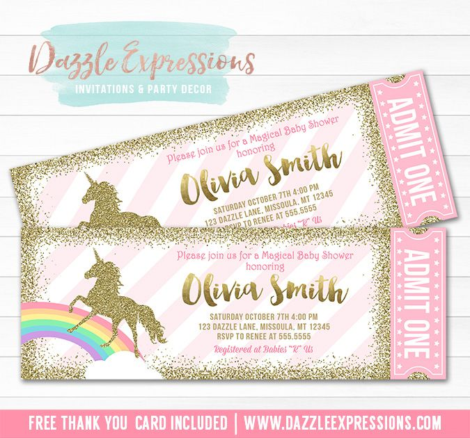 Printable pink and gold glitter unicorn ticket baby shower printable pink and gold glitter unicorn ticket baby shower invitation rainbow its a girl filmwisefo Image collections