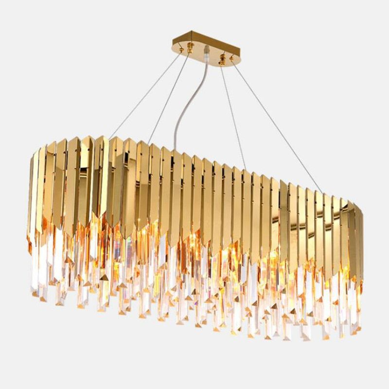 110cm 750 Mmxiuz Luxury Modern Crystal Chandelier For Dining Room Rectangle Gold Home Lamp Crysta Led Crystal Chandelier Modern Crystal Chandelier Chandelier