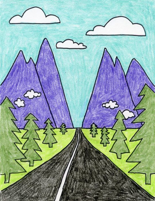 How To Draw Perspective Landscape Perspective Art Kids Art Class Art Lessons For Kids
