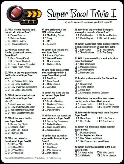 Free Printable Multiple Choice Super Bowl Trivia Game Download And Answers At Diva Girl Parties And St Super Bowl Trivia Superbowl Party Superbowl Party Games
