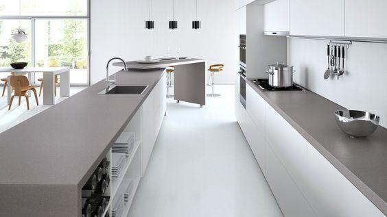 Caesarstone Sleek Concrete With White Cabinets Caesarstone