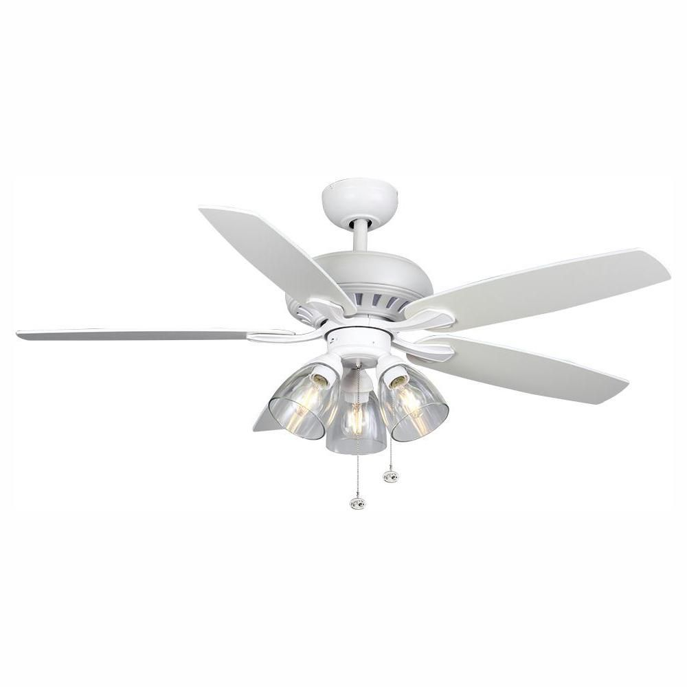 Hampton Bay Rockport 52 In Led Matte White Led Ceiling Fan With