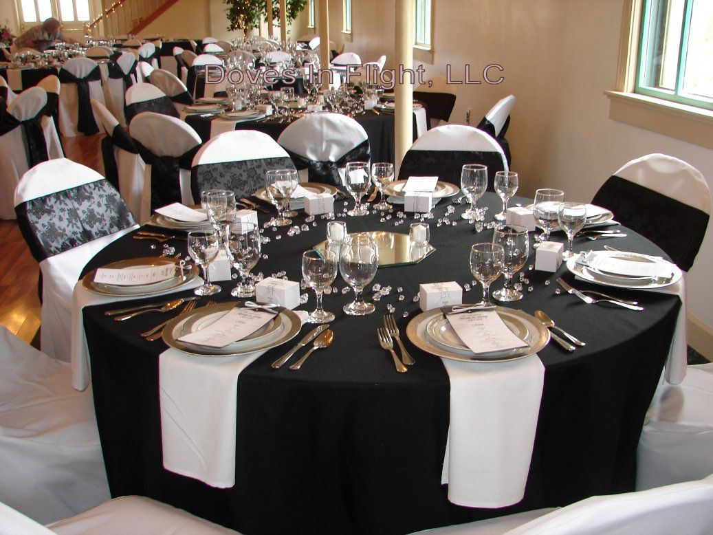 Black White Red Gold Reception Decorations | Pink Embroidered Overlays