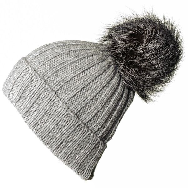 7be3e45fa8cc13 Black Grey Cashmere and Fur Pom Pom Beanie ($185) ❤ liked on Polyvore  featuring accessories, hats, beanies, fur pom-pom hats, beanie hat, slouchy  beanie, ...