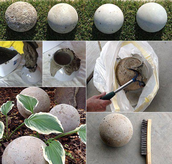 Gartendeko selber machen DIY Gartenkugeln  Beton