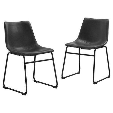Faux Leather Industrial Dining Chairs Set Of 2