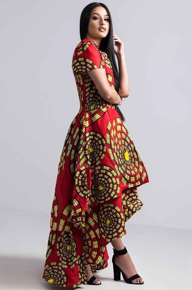 Side view free souls tier short sleeve dress in red multi print