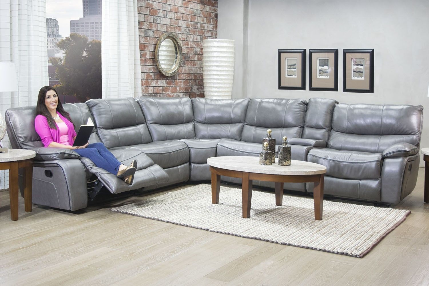 Mor furniture for less the lotus gray leather seating reclining living room mor furniture for less