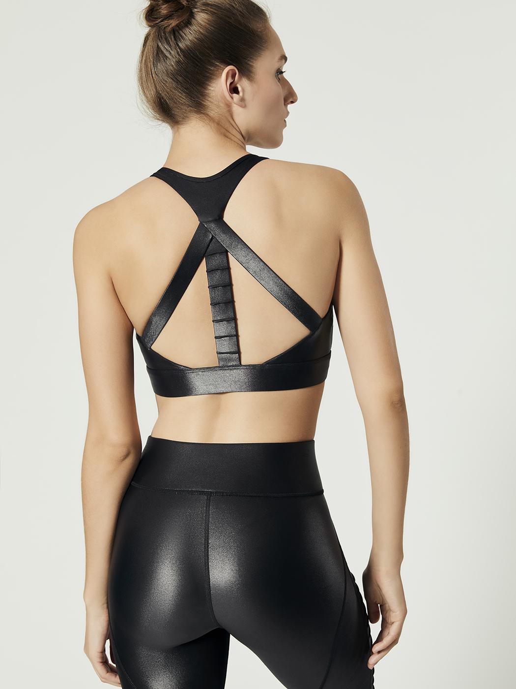 5a494a60 Carbon38 Glossy High Neck Bra - Black - Fashion Activewear Running - Black