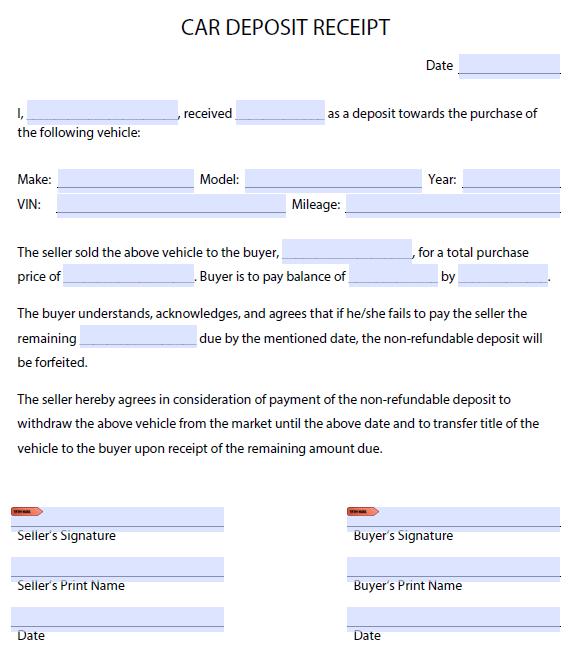 Car Deposit Form 3 Free Receipt Template Receipt Template Invoice Template