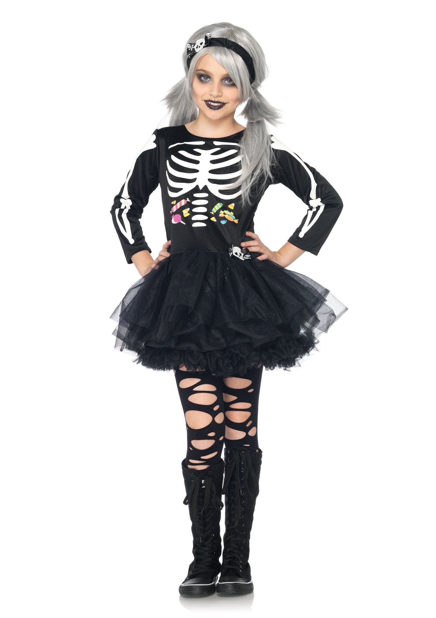 leg avenue costumes 2pcscary skeleton petticoat dress with bone detail and headband black scary kids halloween