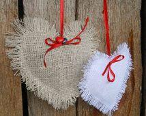 Valentines Day Decor Linen Heart Favor Wedding Favor Bridal Shower Rustic Wedding Decor Valentine Favor Hanging Heart Burlap Wedding Decor