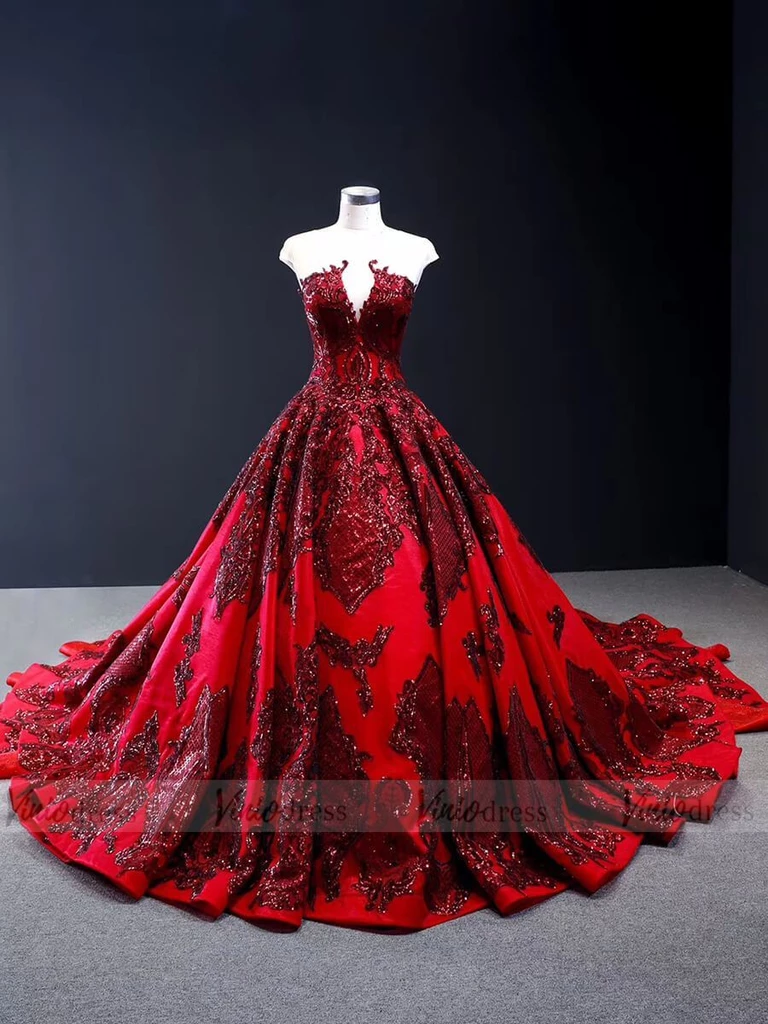 Haute Couture Burgundy Prom Dresses Vintage Ball Gowns FD1666