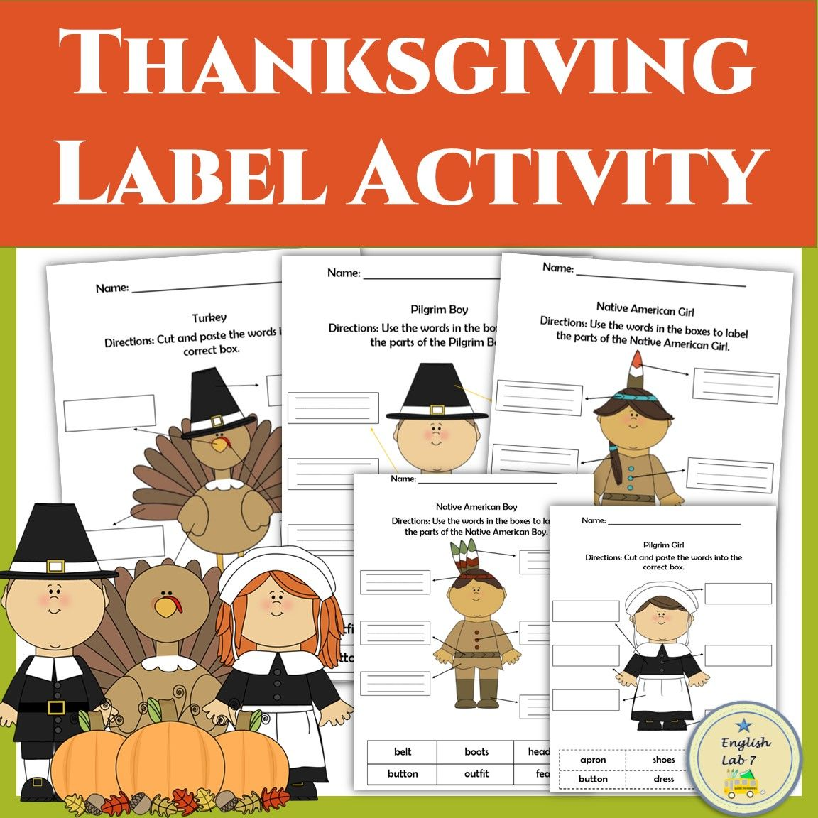 Thanksgiving Activities Vocabulary Worksheets