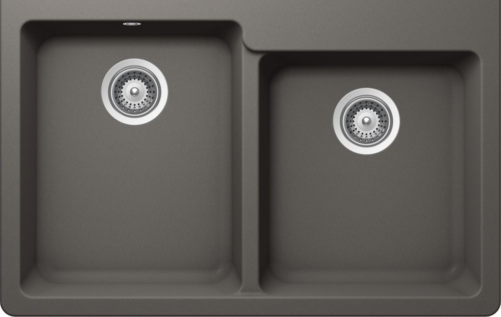 Granite One And Three Quarters Bowl Undermount Sink In Silverstone