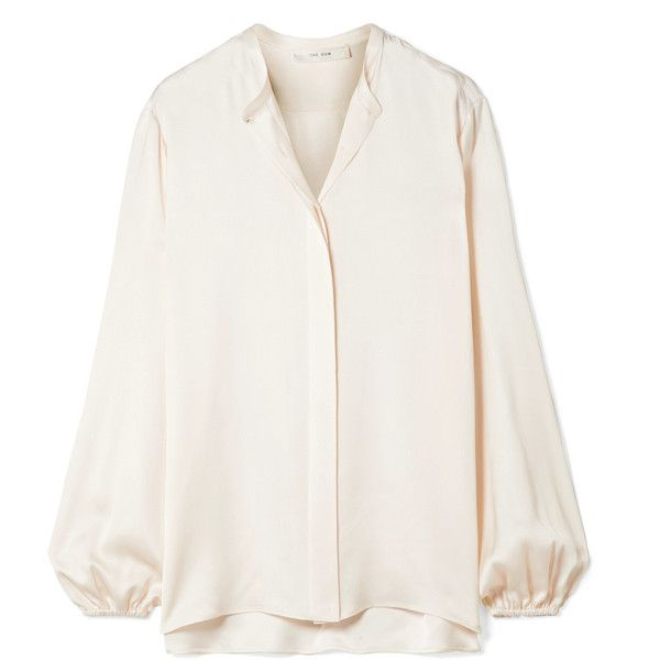 28999001fb5752 The Row Maura silk-satin blouse (3,195 BAM) ❤ liked on Polyvore featuring  tops, blouses, ivory, balloon sleeve top, ivory blouse, ivory top, silk  satin top ...