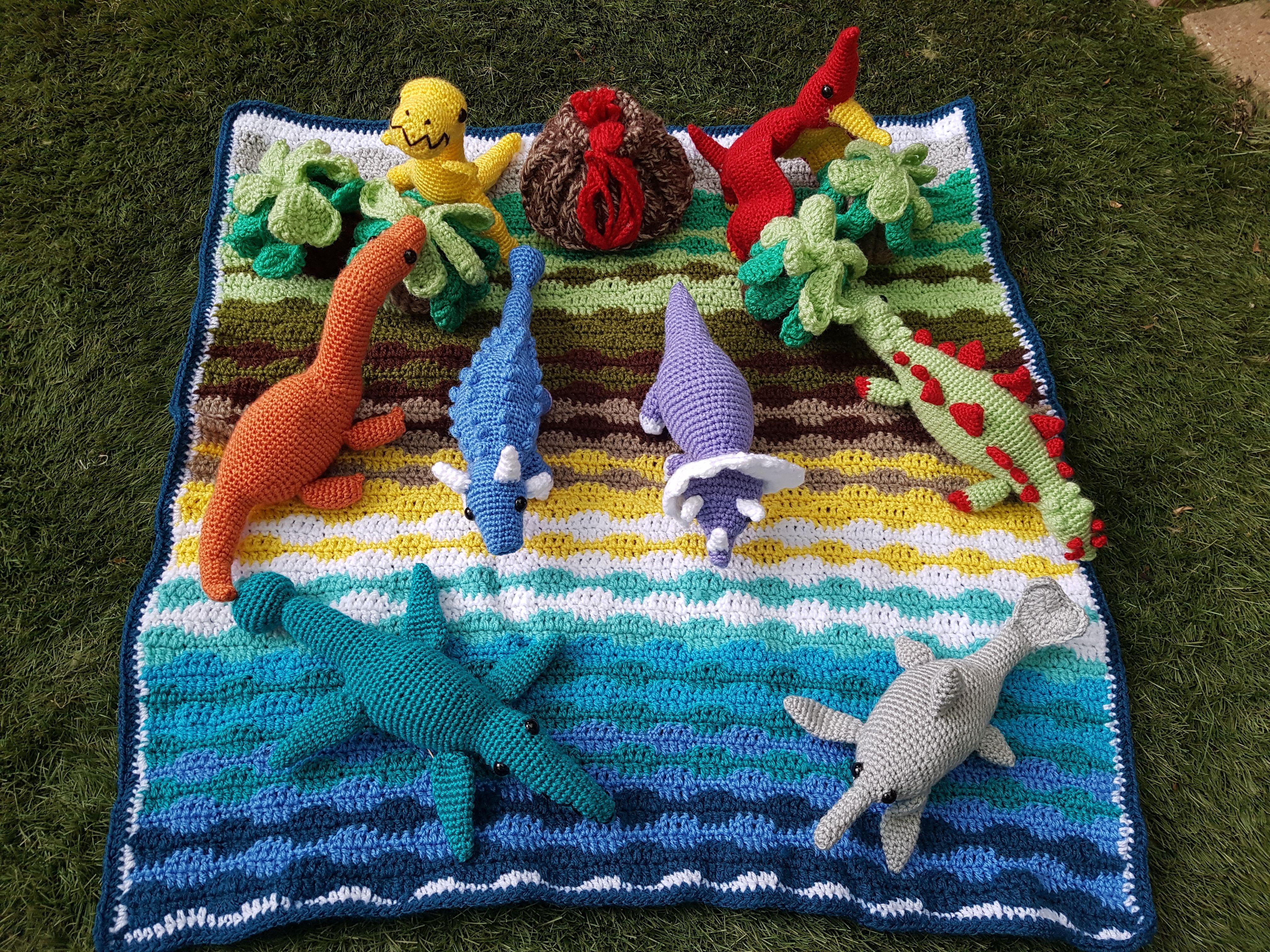 Dinosaur Playmat Crochet Dinosaur Crochet Game Cozy Crochet Patterns