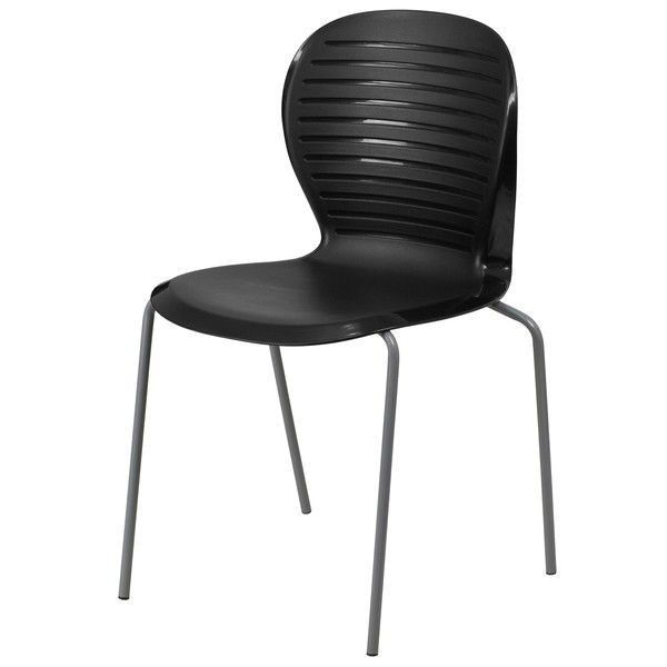 Modern Outdoor Indoor Stacking Patio Dining Side Chair in Black
