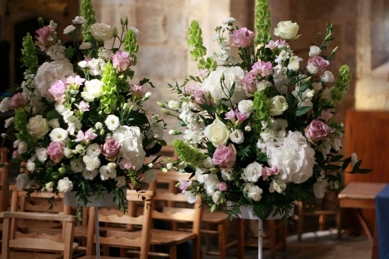 Standing Wedding Sprays White hydrangeas, roses