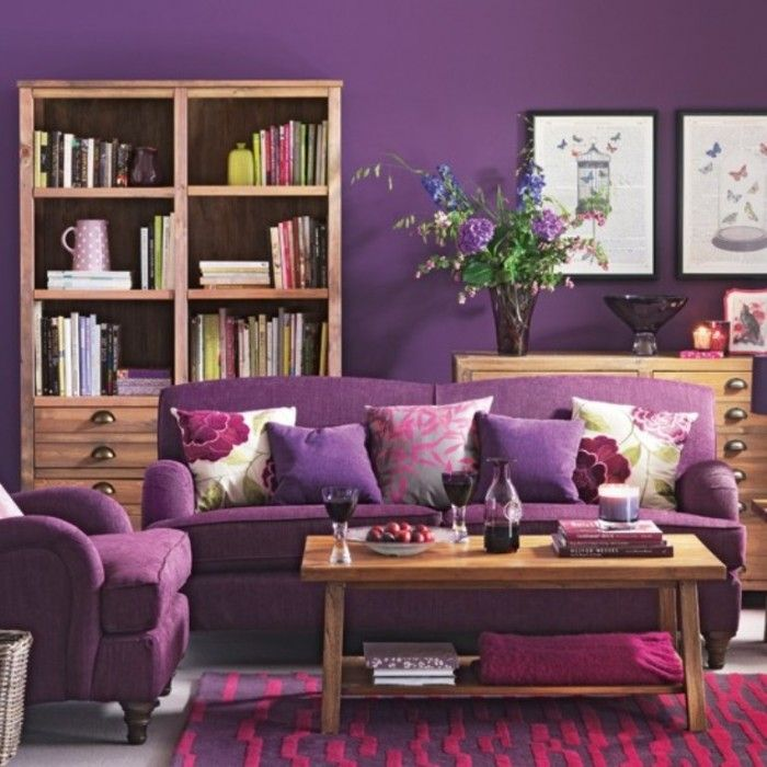 Furniture Cozy Purple Living Room With Sofa And Cushions Feat Brown Wood Coffee