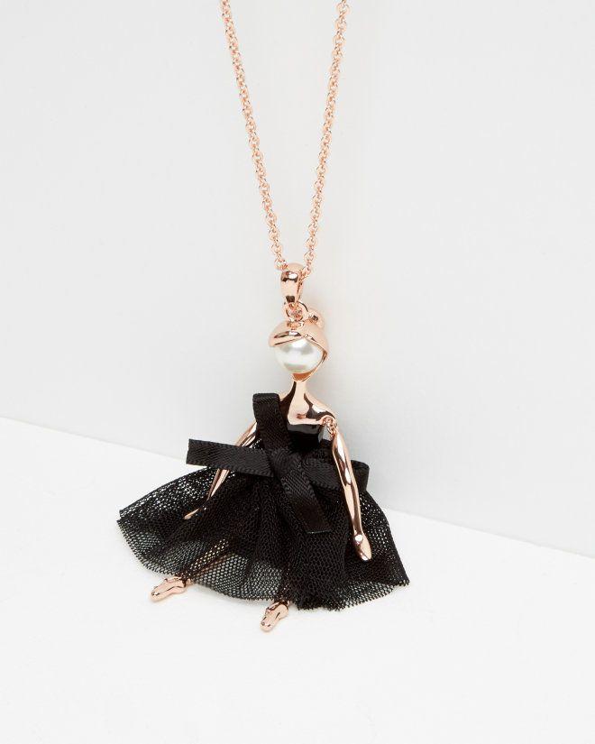 Ballerina Necklace Rose Gold Jewelry Ballerina Jewelry Black Gold Jewelry Ballerina Necklace