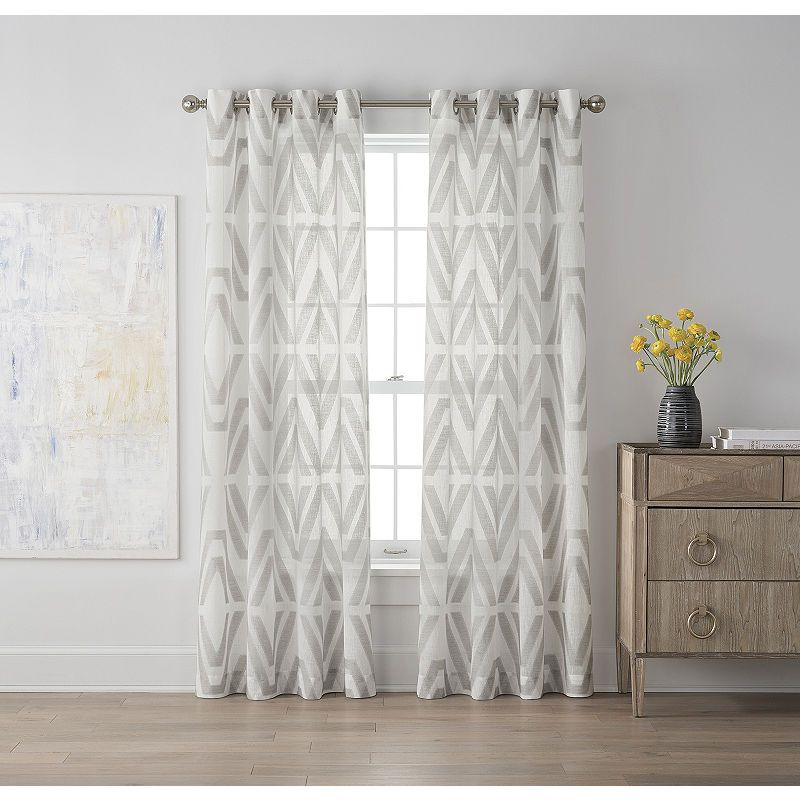 Jcpenney Home Bayview Clip Grommet Top Sheer Curtain Panel Panel