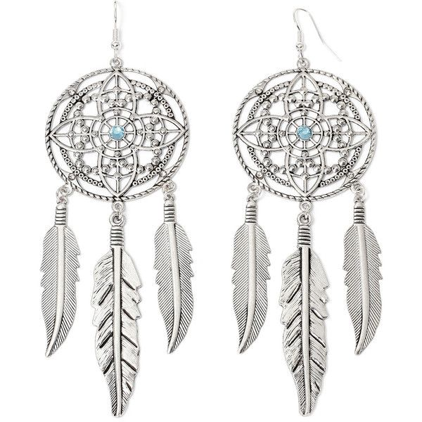 Arizona Silver-Tone Dream Catcher Earrings (£11) ❤ liked on Polyvore featuring jewelry, earrings, silver tone earrings, bohemian jewellery, bohemian style earrings, boho earrings and boho jewelry