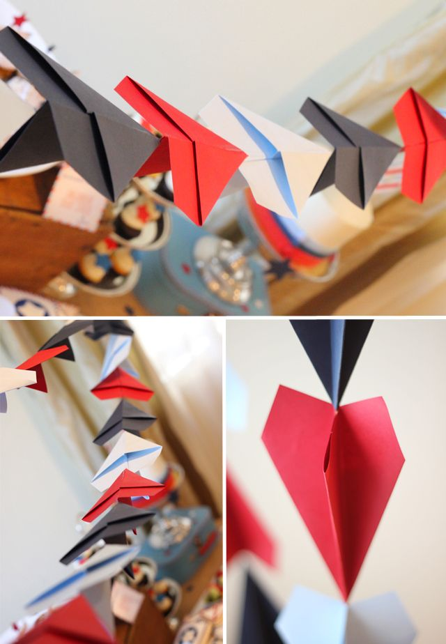 Paper plane party paper plane garland how cute just for Aviation decoration ideas
