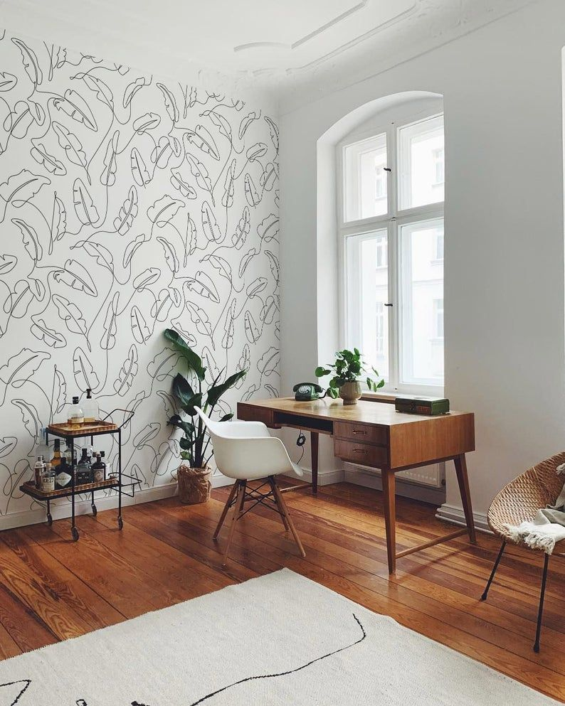 One Line Banana Leaf Peel And Stick Wallpaper Modern Etsy Home Office Decor Home Office Design Interior