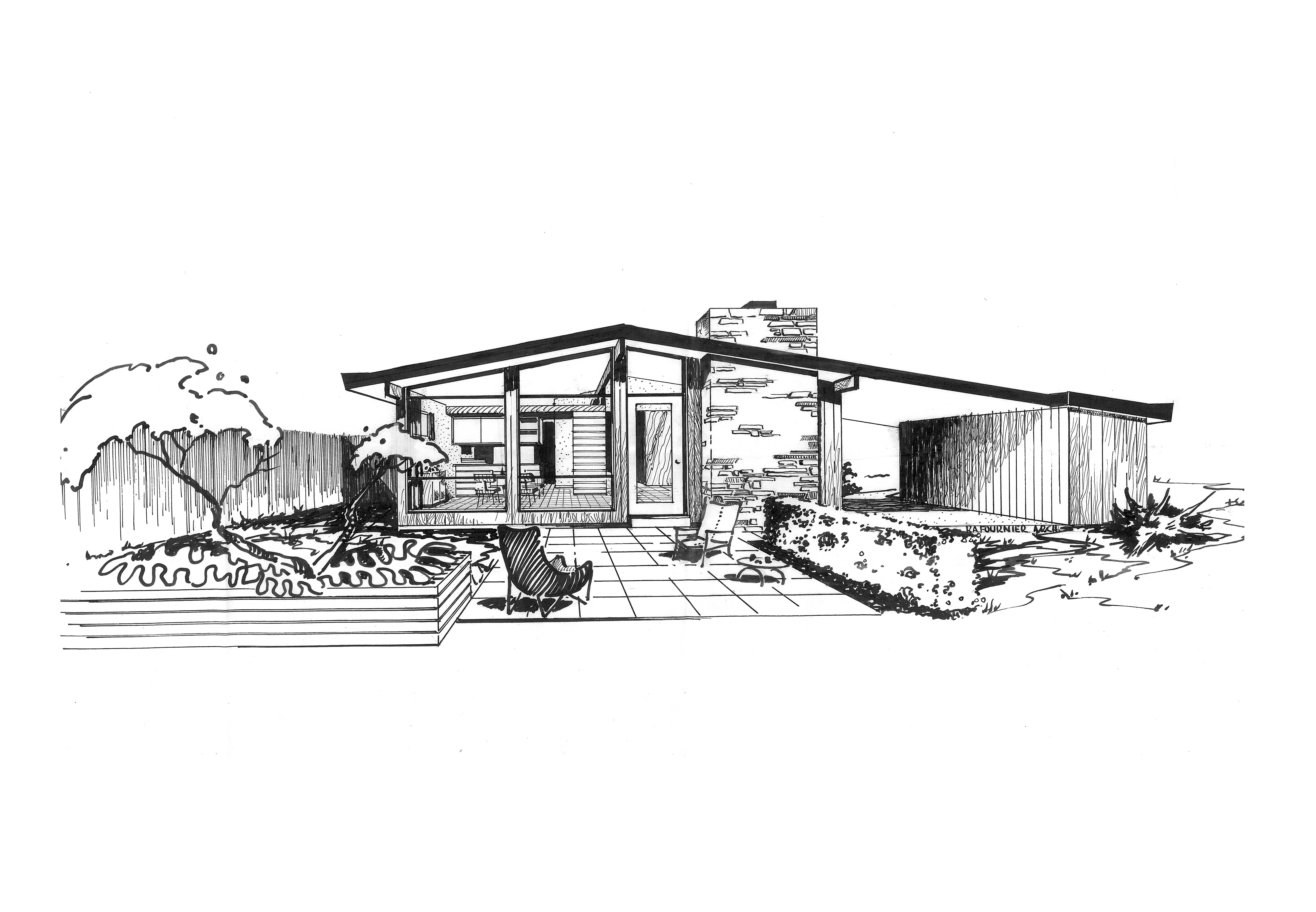Ridgewood house sketch st louis midcentury modernism for Architecture design house drawing