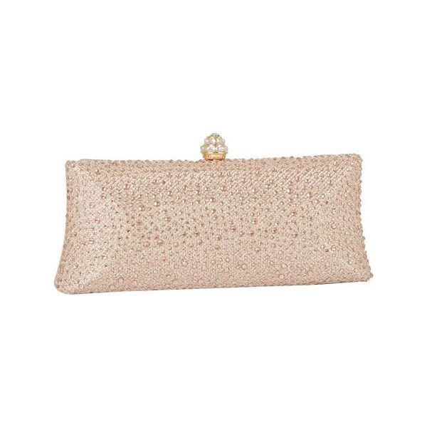 Women's J. Furmani 66845 Studded Hardcase Clutch - Champagne Purses ($60) ❤ liked on Polyvore featuring bags, handbags, clutches, champagne, off white handbags, chain purse, champagne purse, chain handbags and champagne clutches