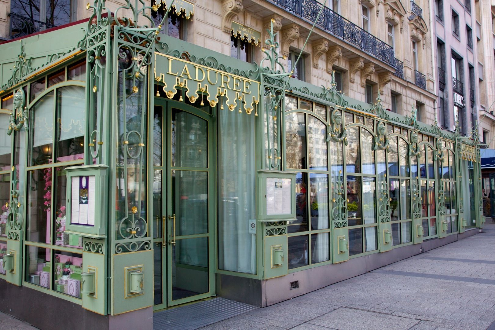 A year after the flagship Laduree boutique along Paris's famed Champs-Elysées went up in smoke, the luxury tea house has reopened for business. Description from crownlifemagazine.com. I searched for this on bing.com/images