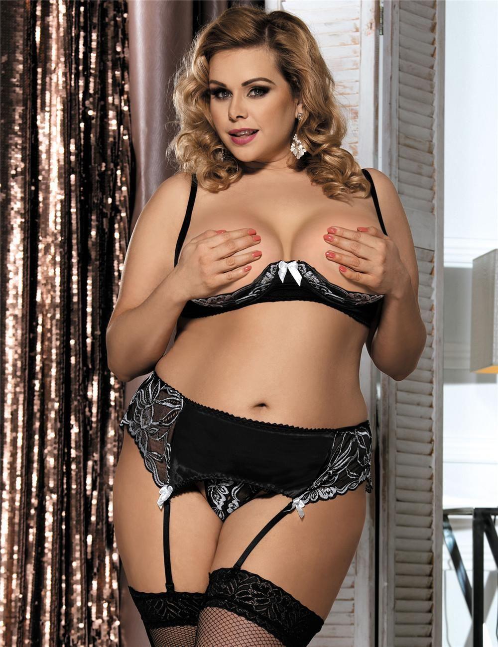 52d19a61d5ce6 Peek-a-Boo Bra Set | Plus Size Suspender Belt | Plus size lingerie ...