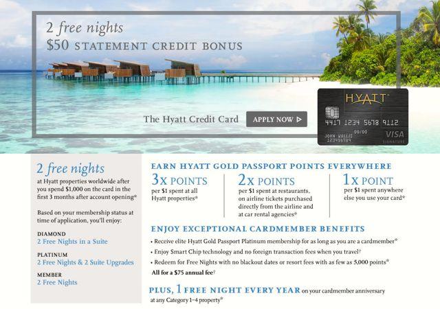 Hyatt Visa Still The Best Hotel Credit Card Bonus Offer 2 Free Nights 50