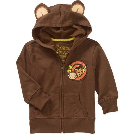 Curious George Toddler Boys' 3-D Eared Graphic Hoodie, Toddler Boy's, Size: 25 Months, Brown