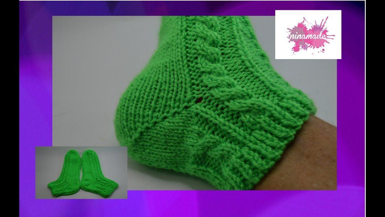 DIY. Chaussettes avec torsades et deux aiguilles// Socks with cables and... | Tricoter des ...