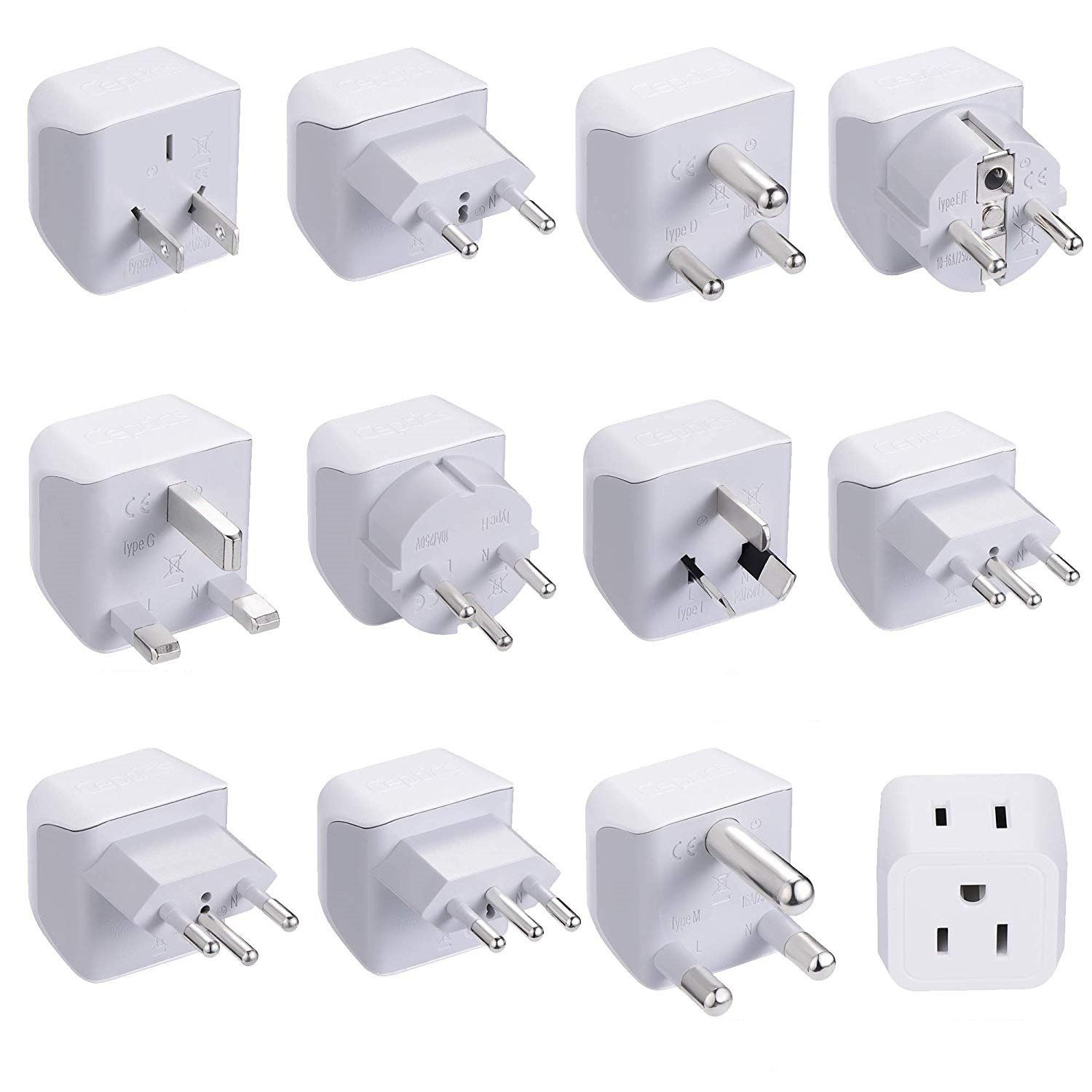 Ceptics USA to Europe Asia Plug Adapter High Quality-CE Certified-RoHS Compliant-6 Pack