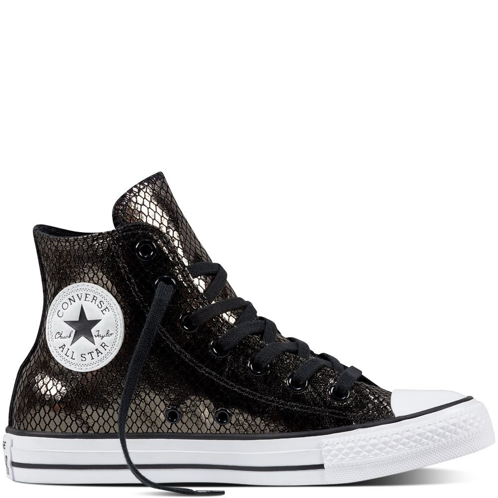 Chuck Taylor All Star Metallic Scaled Leather Noir/Noir/Blanc black/black/