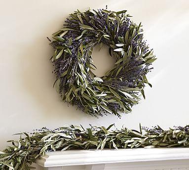 Fresh Olive Leaf Amp Dried Lavender Wreath Ambiance Noel