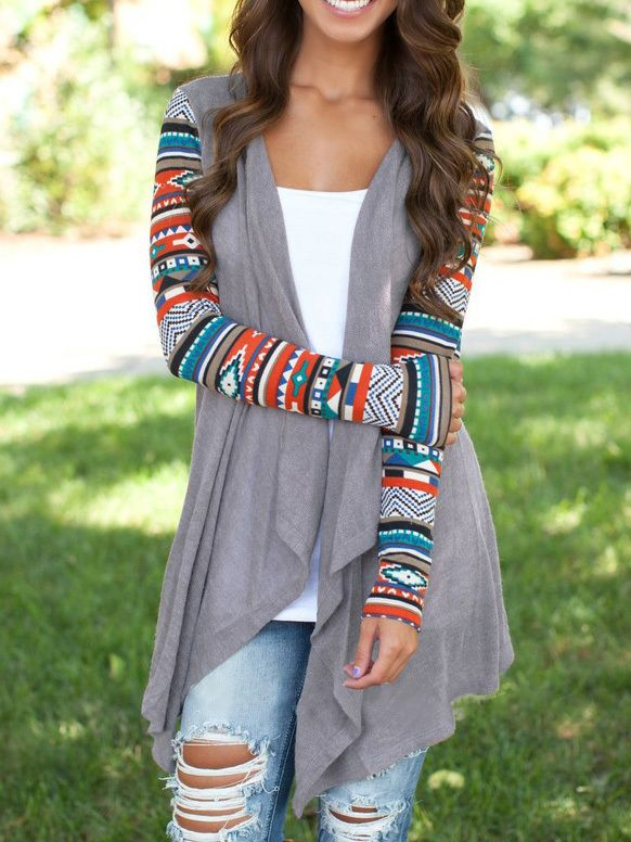 Cute cardigan! Love the colorful sleeves, such a cute touch ...