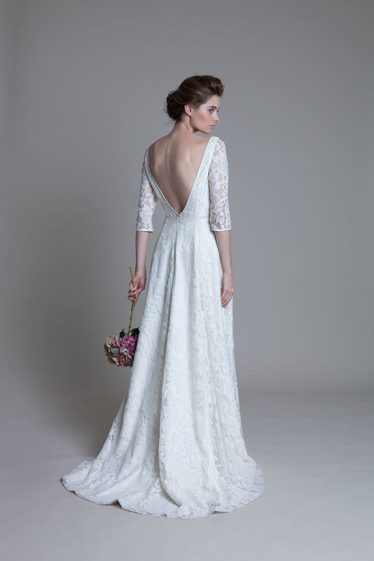 Back view of the Antonia ivory lace bridal wedding dress by ...