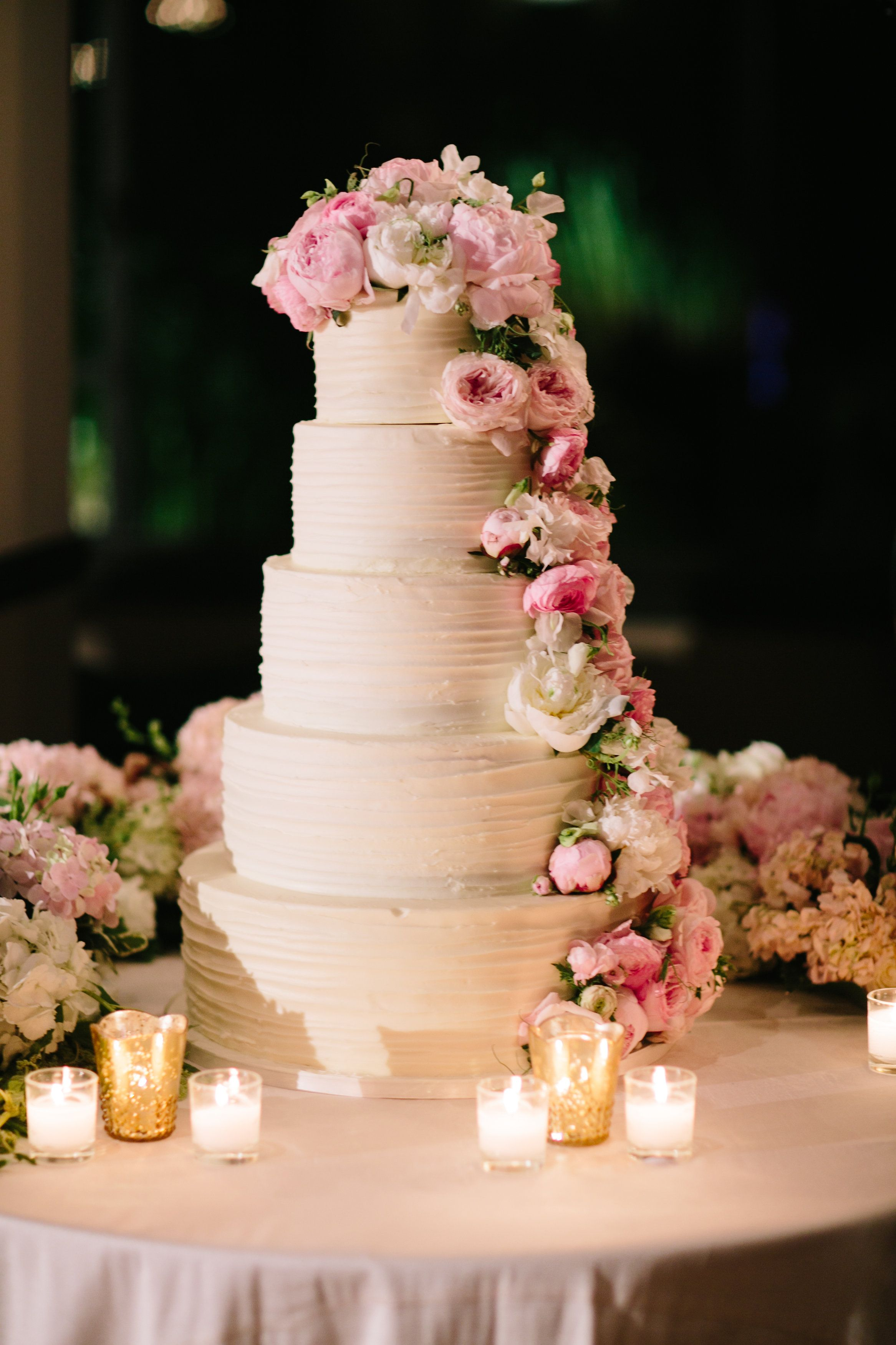 Five Tier Wedding Cake With Fresh Flowers Pink Peonies Wedding Cake Decorations Flowers Beach Theme Wedding Cakes Wedding Cake Toppers
