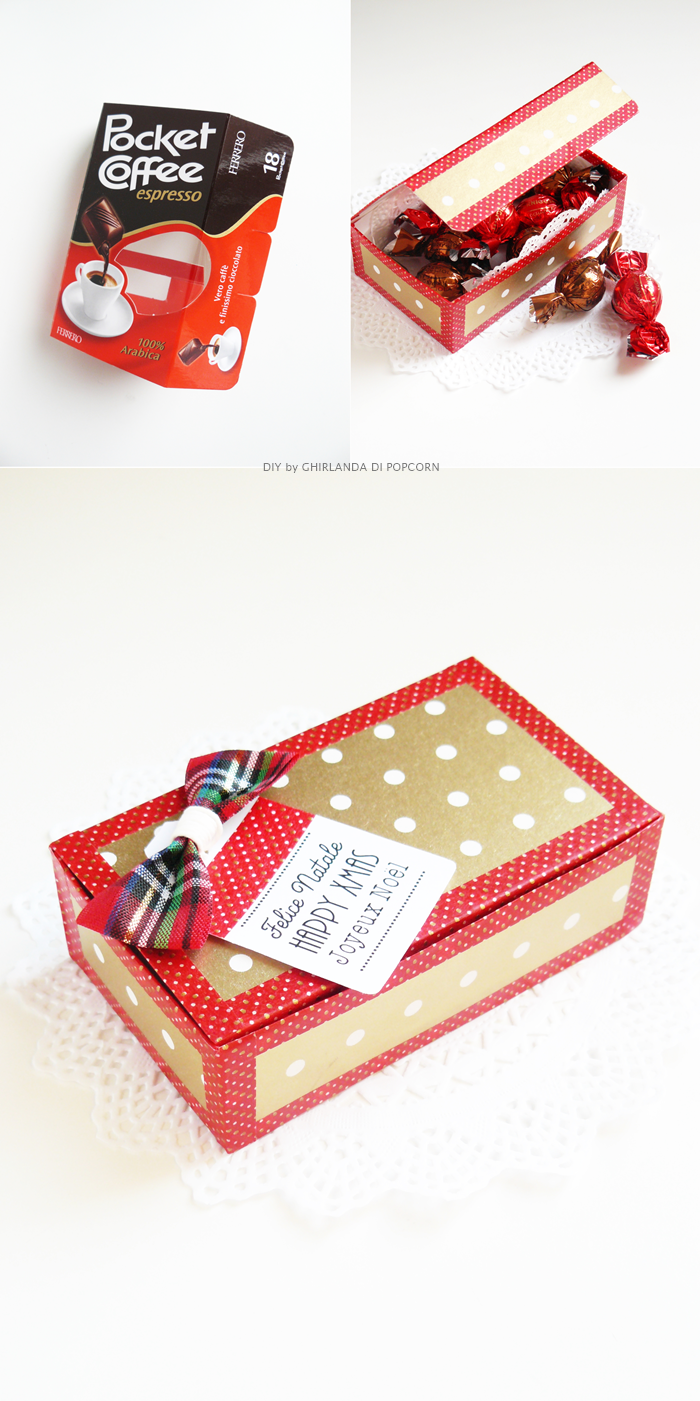 Ghirlanda di Popcorn: 3 ways to use wrapping paper: recycle a chocolates box