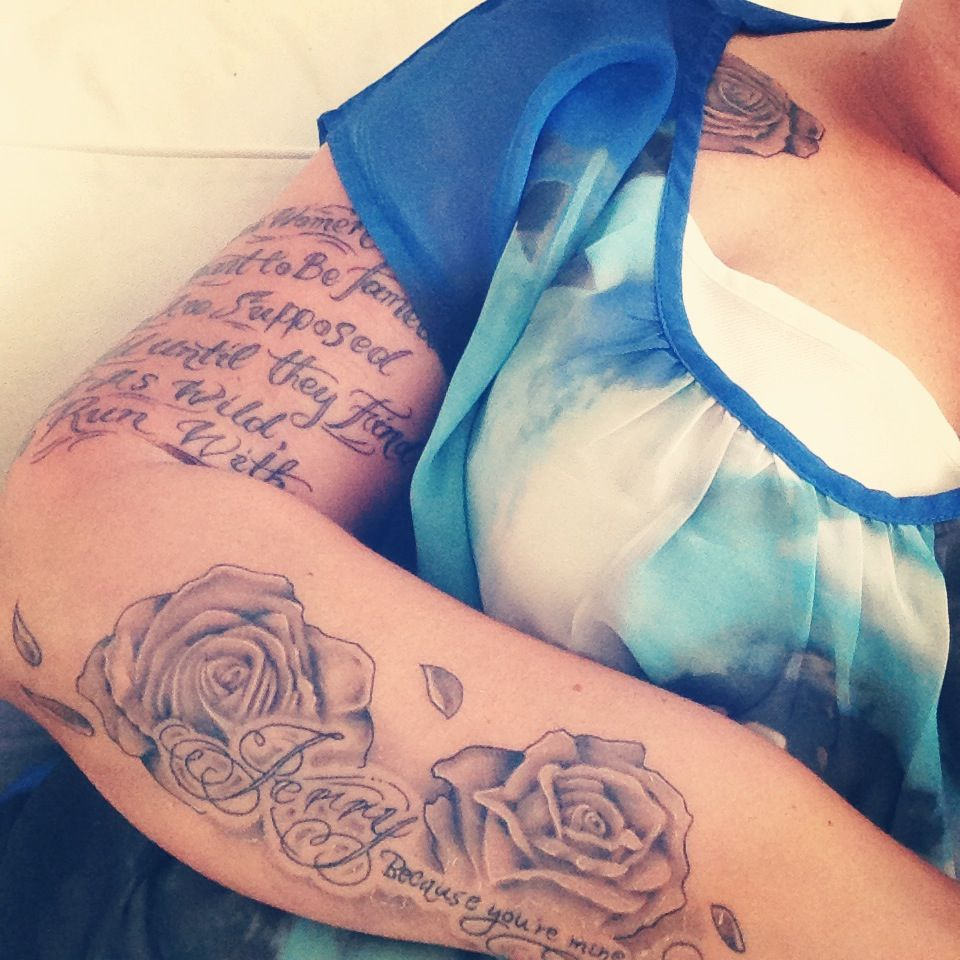 Tattoo Quotes With Roses: Love The Way The Quote Is Overlapping The Roses. I Would
