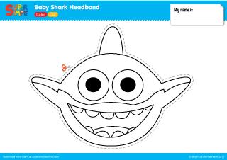 Baby Shark Headband Craft From Super Simple Songs Prek Kindergarten Babyshark Shark Crafts Preschool Shark Craft Shark Mask