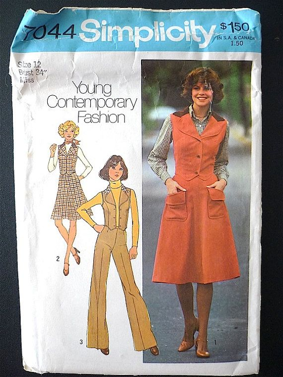 Vintage Sewing Pattern Women\'s 70\'s Uncut, Simplicity 7044, Skirt ...