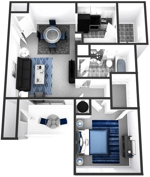 One Bedroom Apartments Tampa: Apartment/Condo Floor Plans