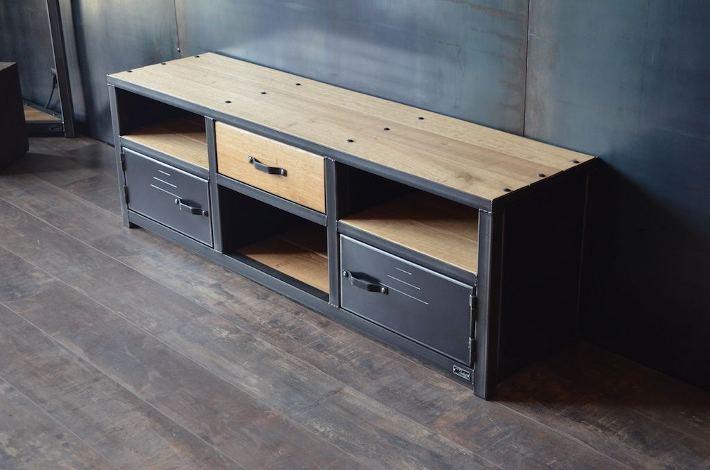 Meuble tv style industriel acier bois - Fabrication artisanale ...